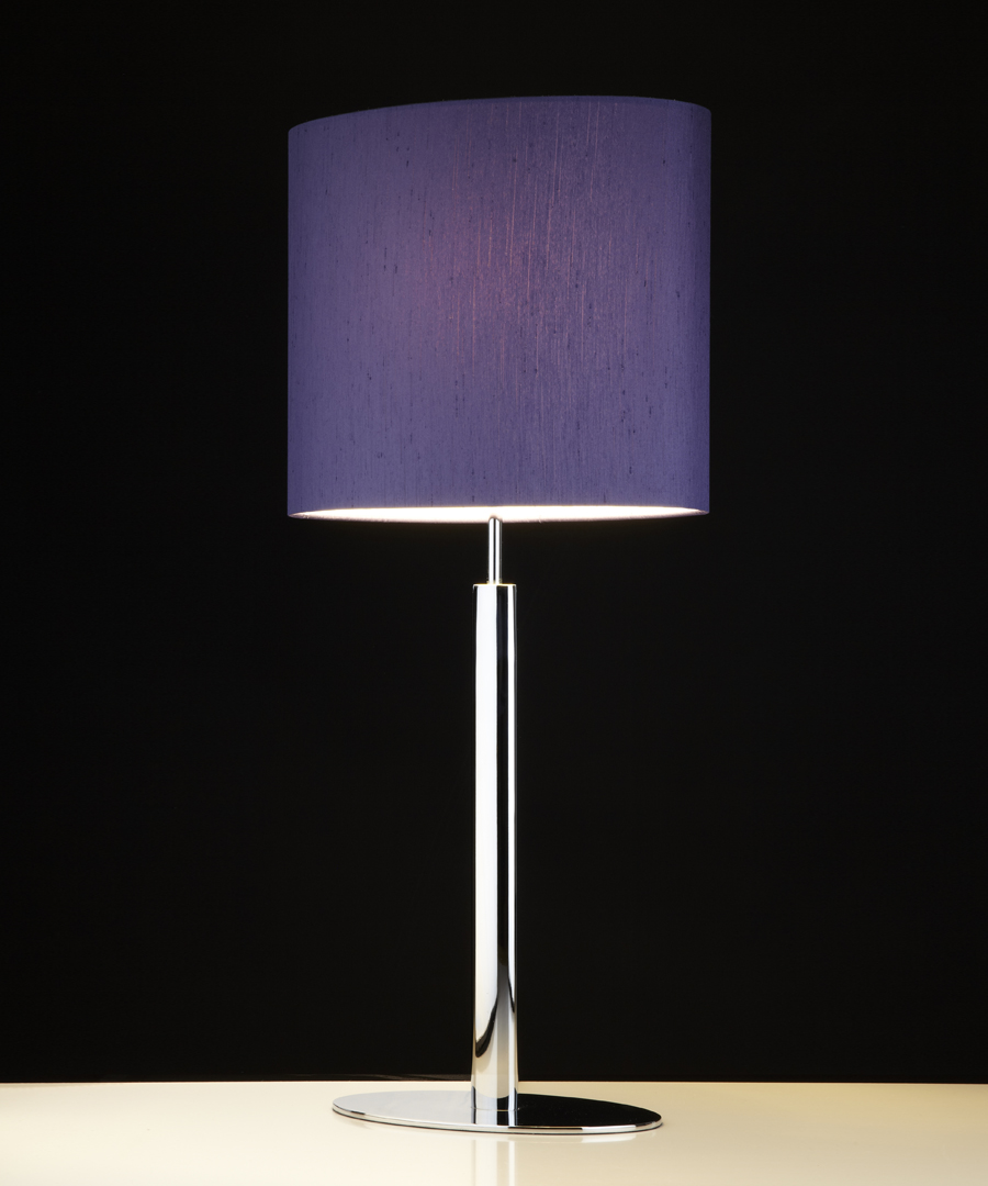 Kepler table light, table lamp with elliptical base and stem in chrome plated steel, with a grape shade - Chad Lighting