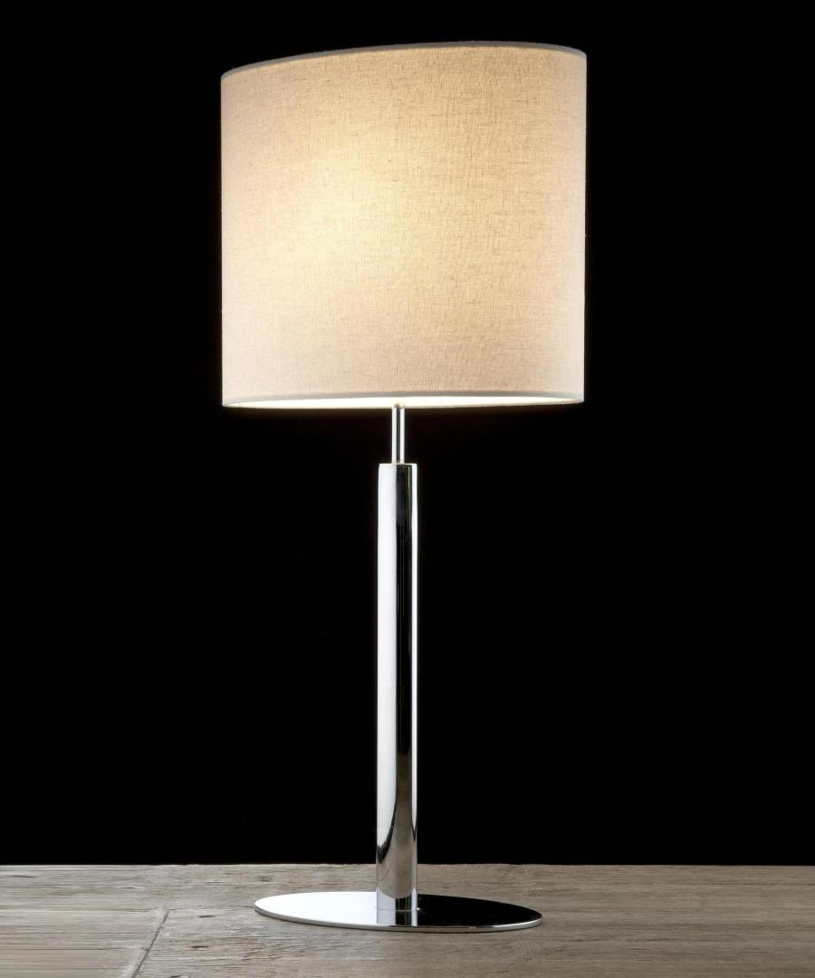 Kepler table light, table lamp with elliptical base and stem in chrome plated steel, with a linen shade - Chad Lighting