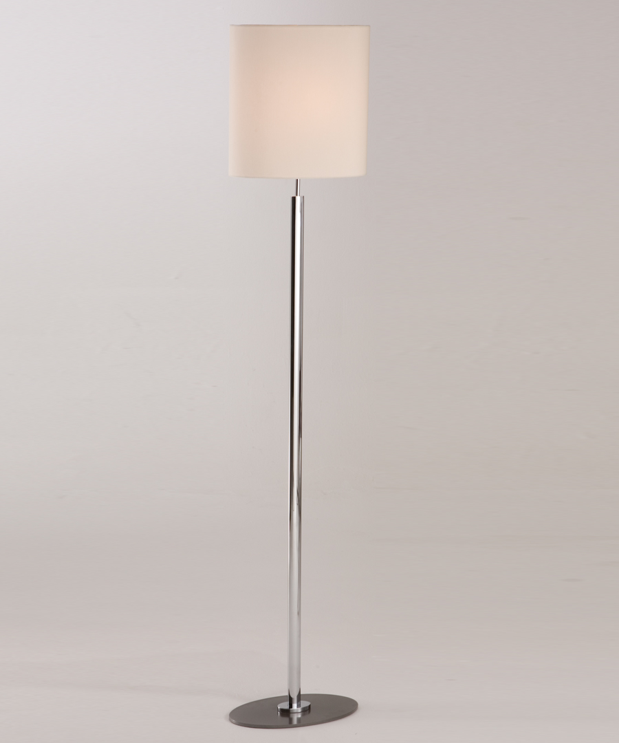 Kepler floor light, floor lamp with chrome plated stem and elliptical pewter base - Chad Lighting
