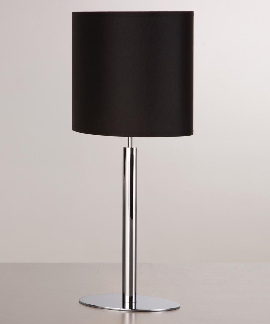 Kepler table light, table lamp with elliptical base and stem in chrome plated steel, with a black shade - Chad Lighting