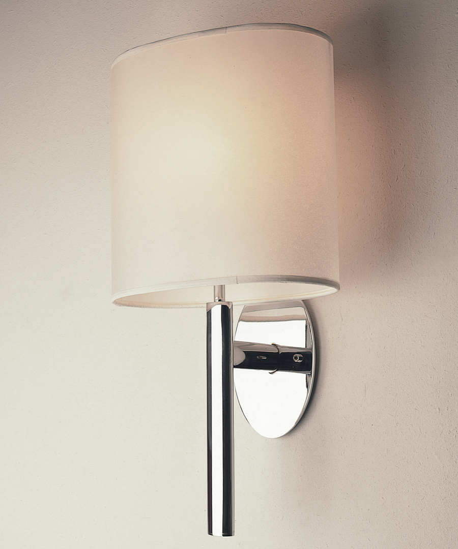 Kepler wall light, elliptical base and stem in chrome plated steel - Chad Lighting