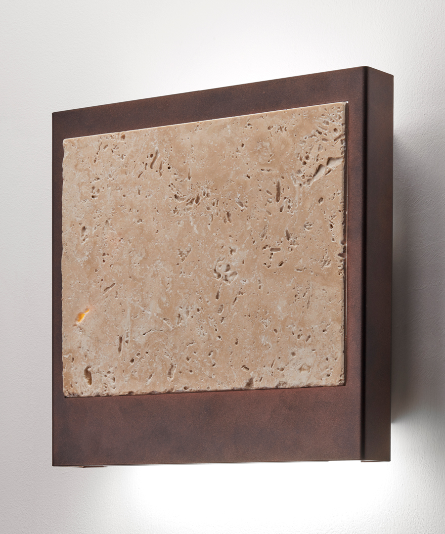 Linz wall light, travertine insert surrounded by antique brass, casting light up and down - Chad Lighting