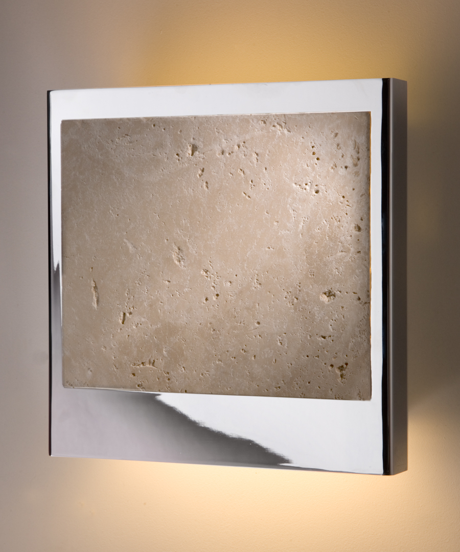 Linz wall light, travertine insert surrounded by chrome plated steel, casting light up and down - Chad Lighting