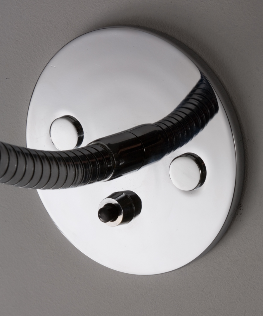 Luna wall light, LED reading light, close up of switched round plate - Chad Lighting