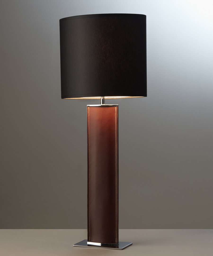 Madrid table light, tall table lamp in brown leather with a black shade - Chad Lighting