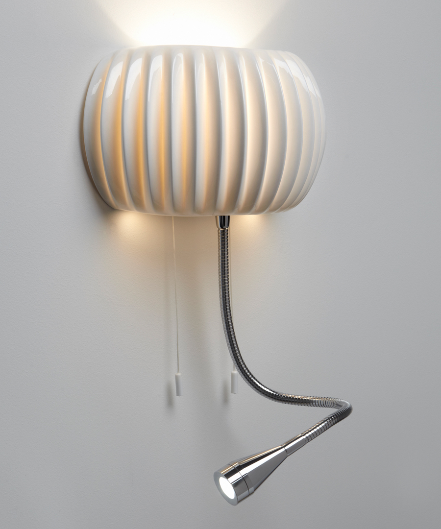 Monterey wall light, Bedside wall light in Bone China with LED reading light - Chad Lighting