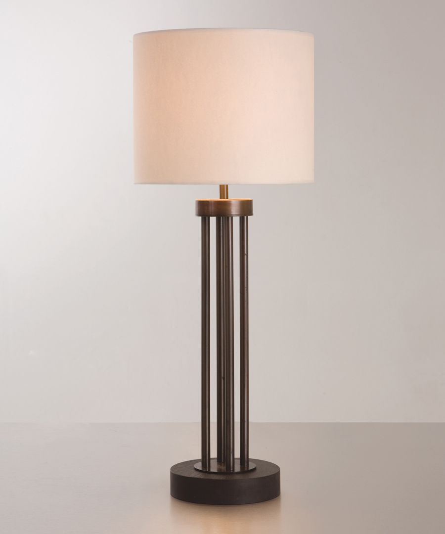 Naxos table light, tall table lamp featuring a stone base and columns in bronze epoxy coating with a cream shade - Chad Lighting