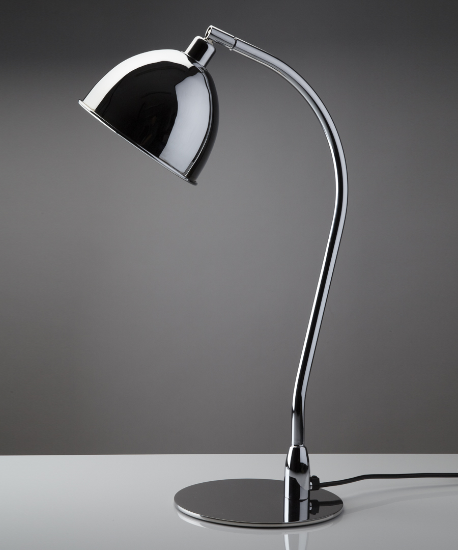Pablo table light, metal table lamp with chrome cowl - Chad Lighting