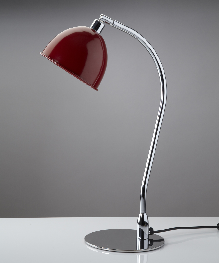 Pablo table light, metal table lamp with red cowl - Chad Lighting