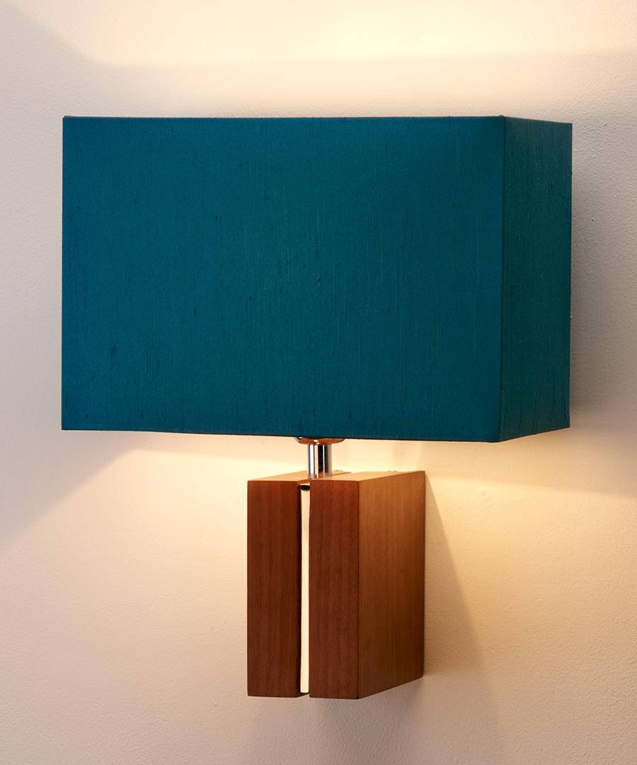 Panino wall light, featuring walnut and chrome with a rectangular teal shade - Chad Lighting