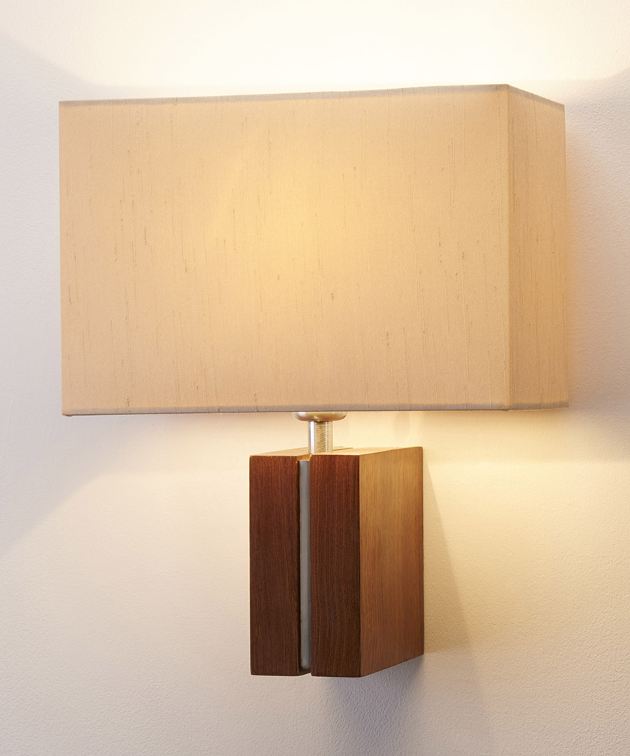 Panino wall light, featuring walnut and satin nickel with a rectangular cream shade - Chad Lighting