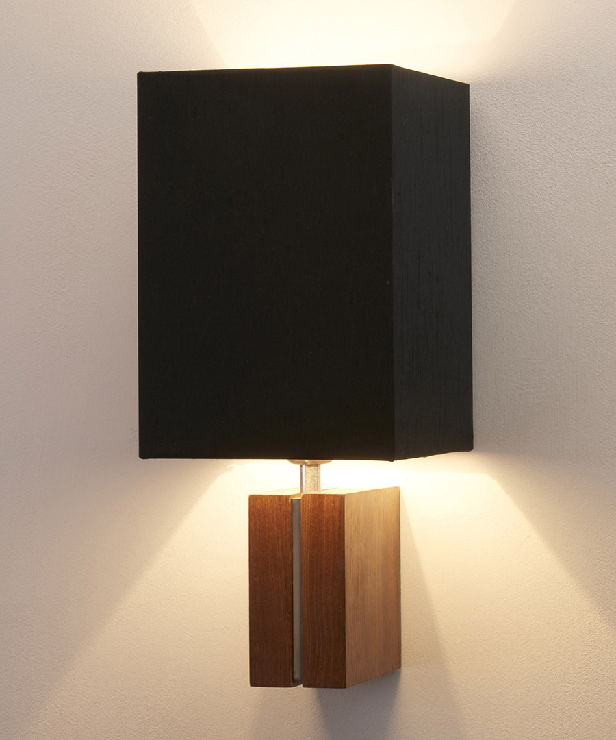 Panino wall light, featuring walnut and satin nickel with a tall black shade - Chad Lighiting
