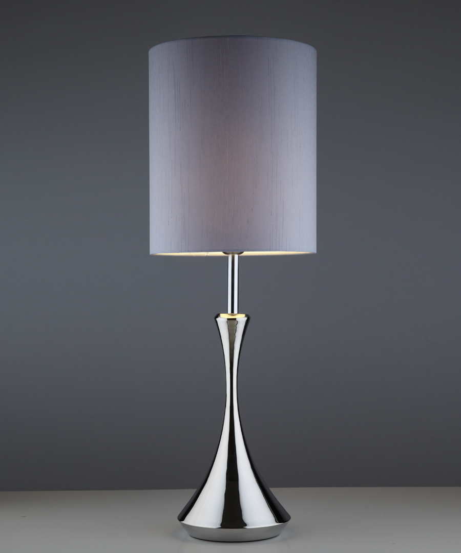 Pigalle table light, table lamp in polished stainless steel with a tall gunmetal shade - Chad Lighting