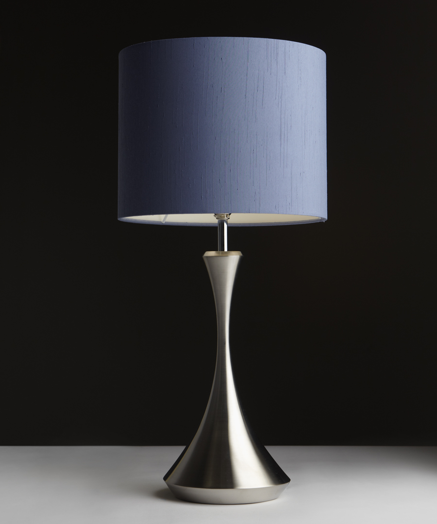 Pigalle table light, table lamp in polished stainless steel with a blue shade - Chad Lighting