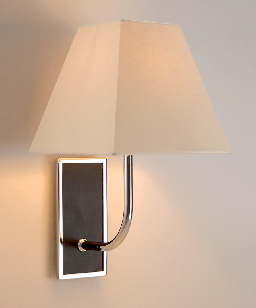 Pisa wall light, with leather in a chrome plated rectangular frame, brown - Chad Lighting