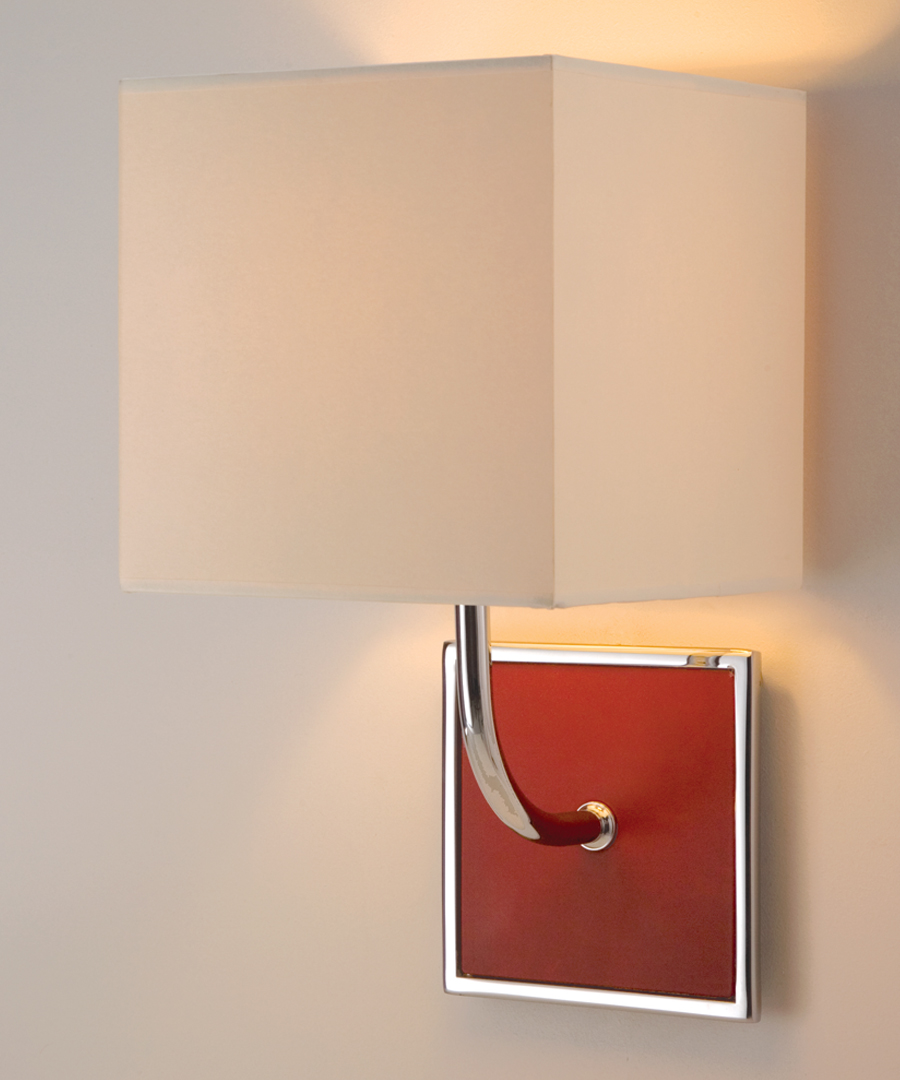 Pisa wall light, with leather in a chrome plated square frame - Chad Lighting