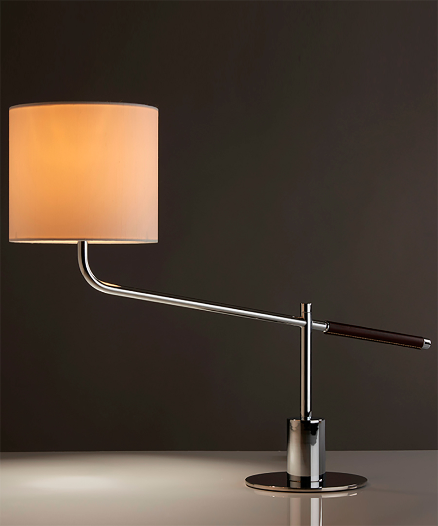 Riga table light, task light in polished chrome and leather handle with an orange shade - Chad Lighting