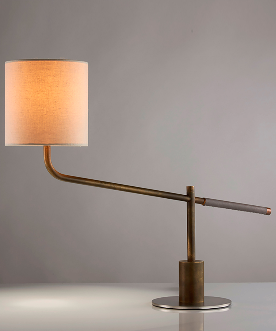 Riga table light, task light in antique brass and leather handle with an orange shade - Chad Lighting