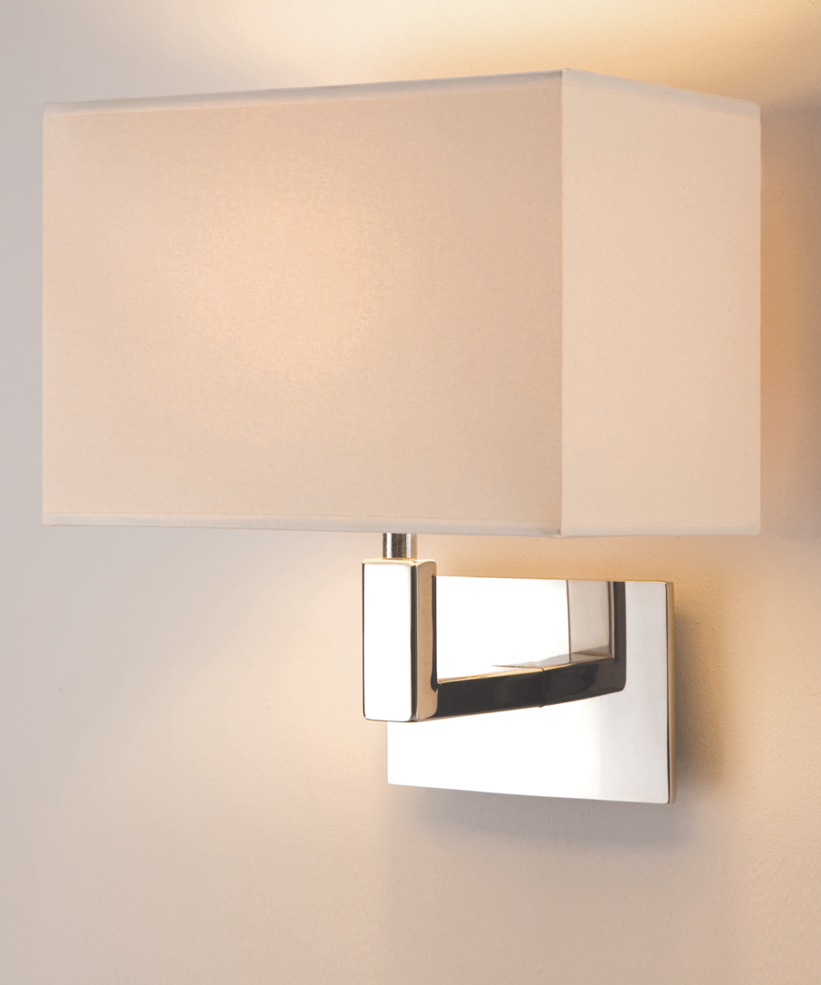 Salamanca wall light, in polished stainless steel with a cream shade