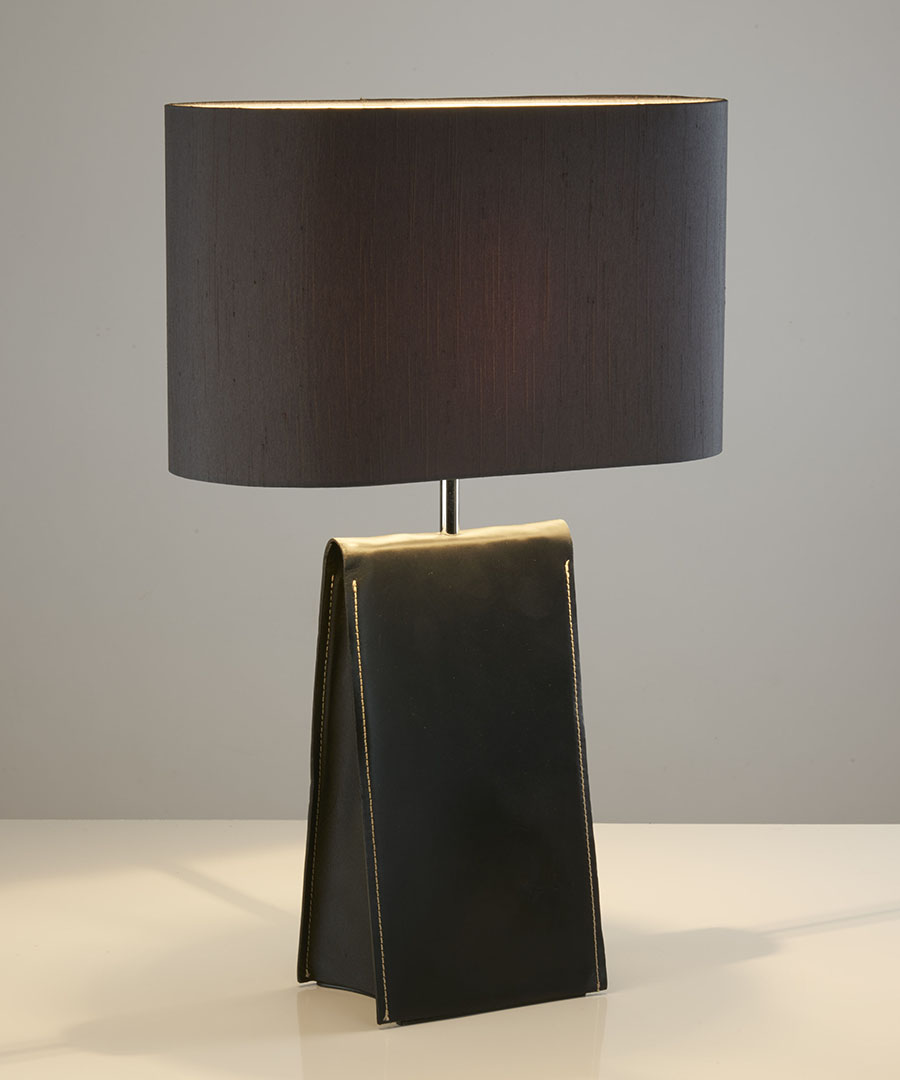 Satchel table light, black leather table lamp with a black shade - Chad Lighting