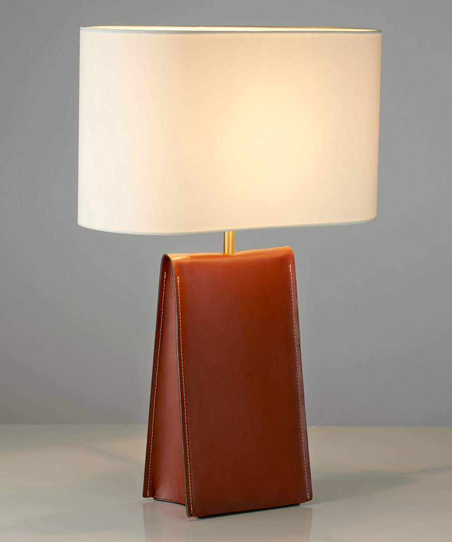 Satchel table light, leather table lamp in warm tan and an ivory shade - Chad Lighting