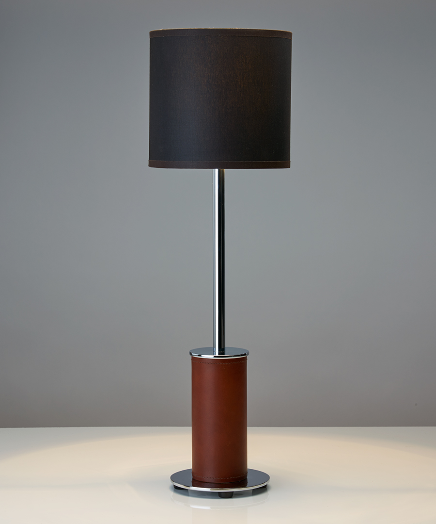 Siena table light - narrow, table lamp in chocolate leather and chrome with a black shade - Chad Lighting