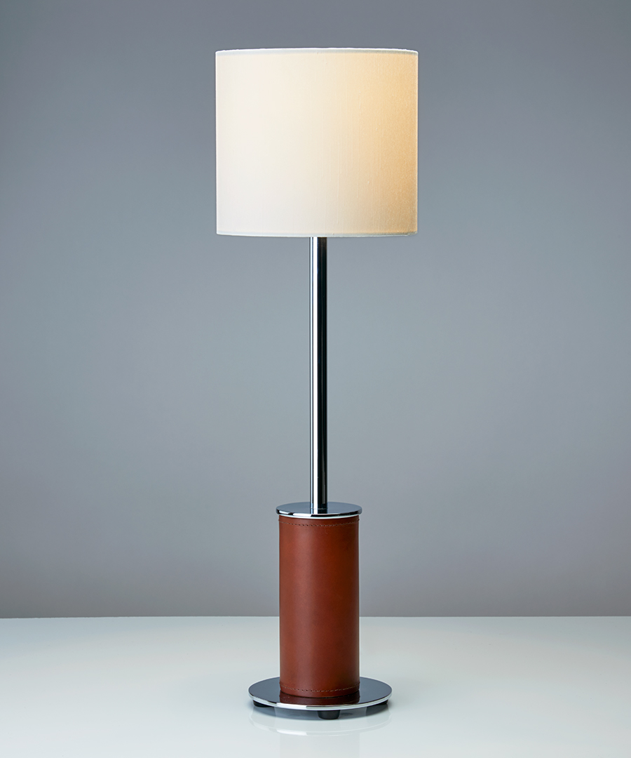 Siena table light - narrow, table lamp in chocolate leather and chrome with an ivory shade - Chad Lighting