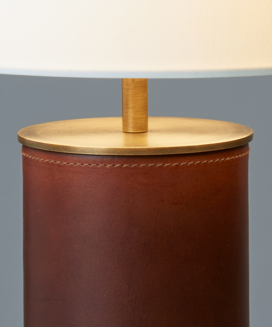 Siena table light,close-up of table lamp in chocolate leather and antique brass, high quality stitching  - Chad Lighting