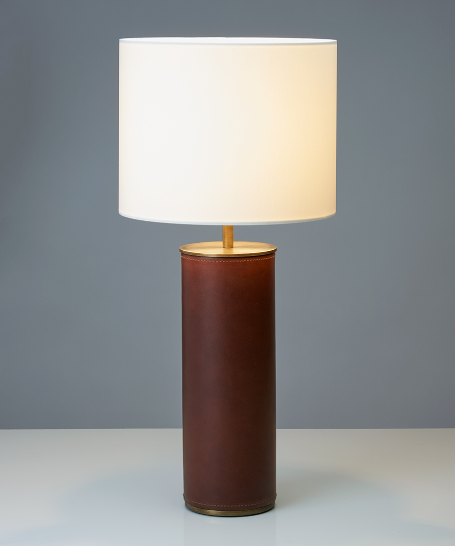 Siena table light, cylindrical table lamp in chocolate leather and antique brass  - Chad Lighting
