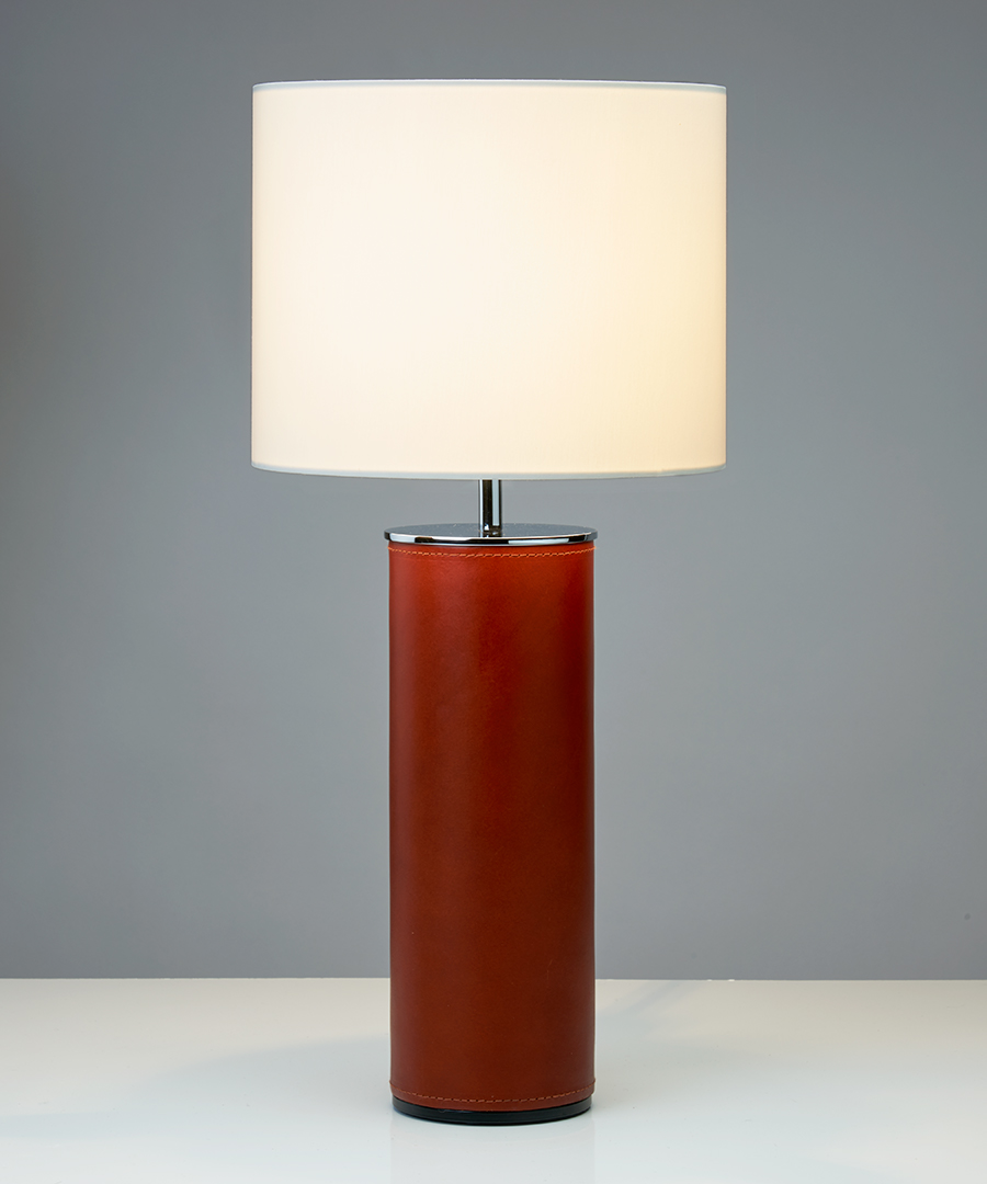 Siena table light, cylindrical table lamp in warm tan leather and chrome  - Chad Lighting