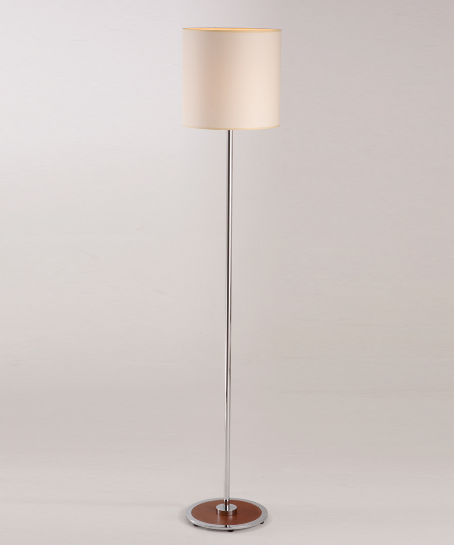 Siena floor light, floor lamp with a chrome and leather base and a long chrome stem - Chad Lighting