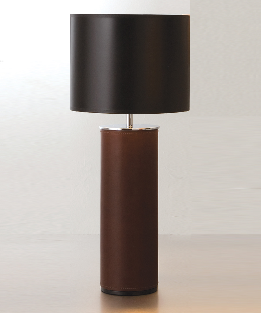 Siena table light, cylindrical table lamp in chocolate leather and chrome with black shade - Chad Lighting