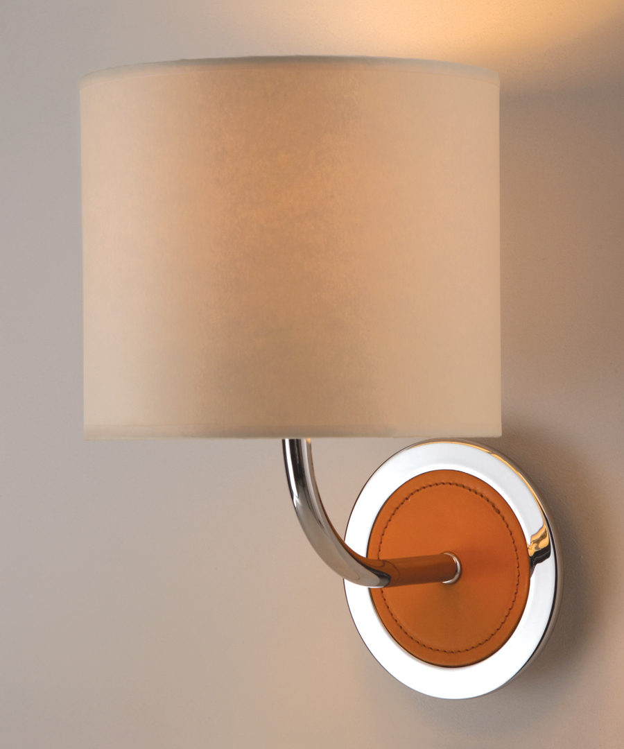 Siena wall light, combination of chrome and leather with a cream shade - Chad Lighting