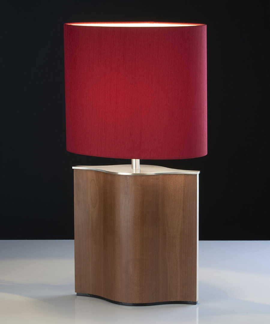Stockholm table light, table lamp formed from veneered plywood, fumed pear and satin nickel with a red shade - Chad Lighting