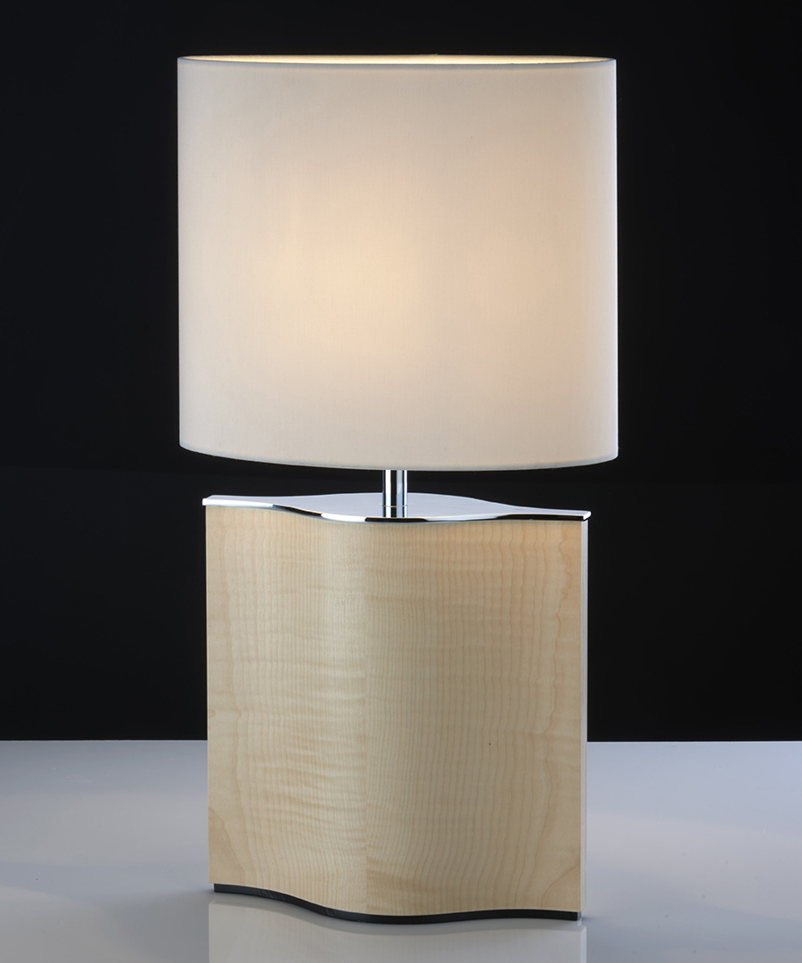 Stockholm table light, table lamp formed from veneered plywood, sycamore and chrome with a cream shade - Chad Lighting