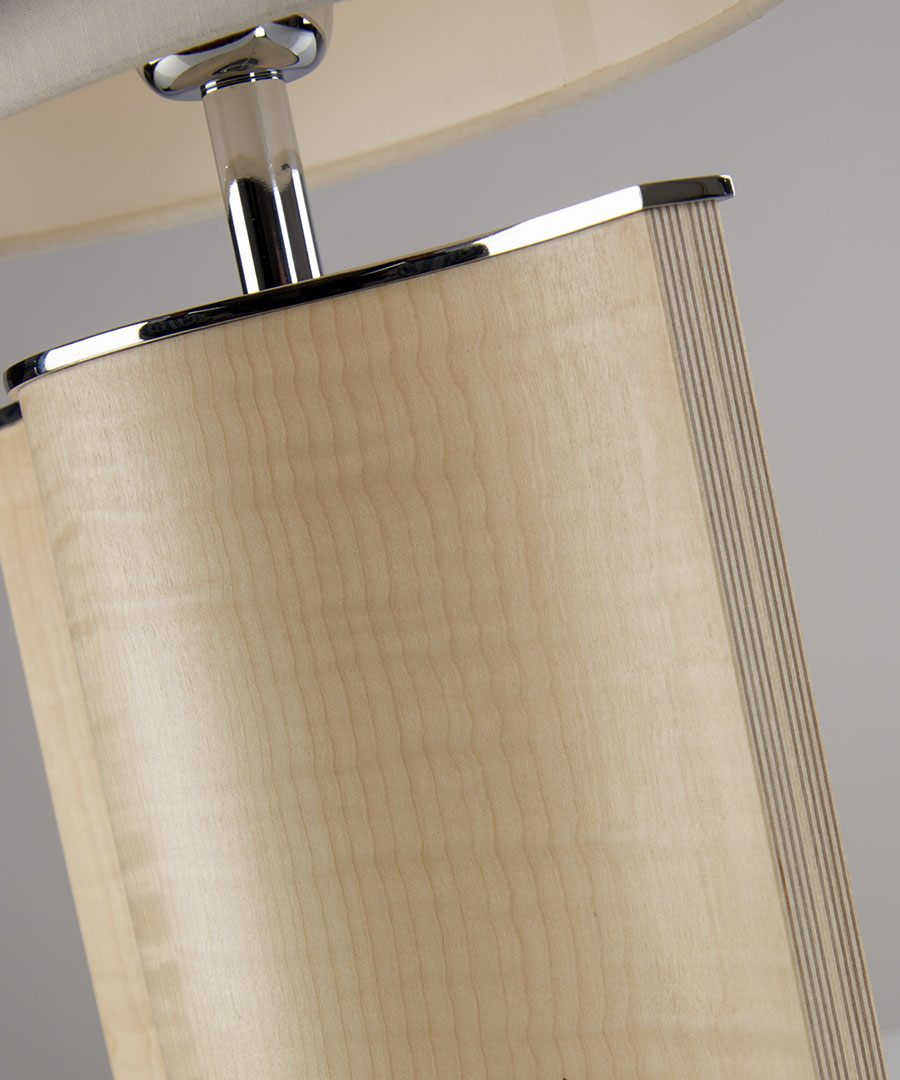 Stockholm table light, close-up of table lamp formed from veneered plywood, sycamore and chrome - Chad Lighting