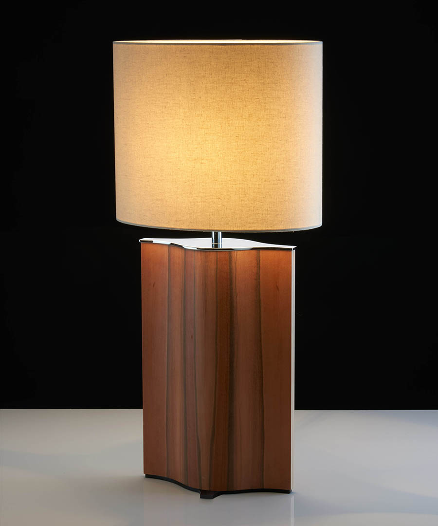 Stockholm table light, tall table lamp formed from veneered plywood, tineo and chrome with a calico shade - Chad Lighting