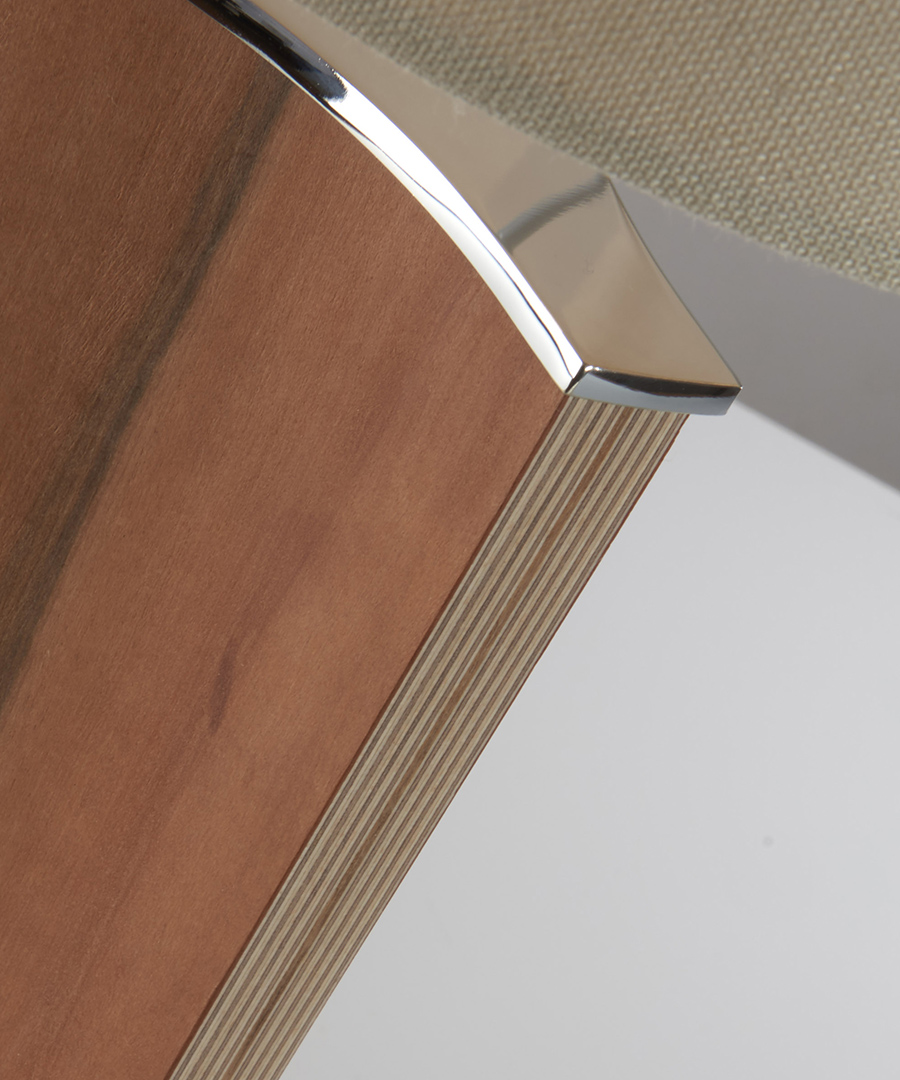 Stockholm table light, close-up of table lamp formed from veneered plywood, tineo and chrome - Chad Lighting