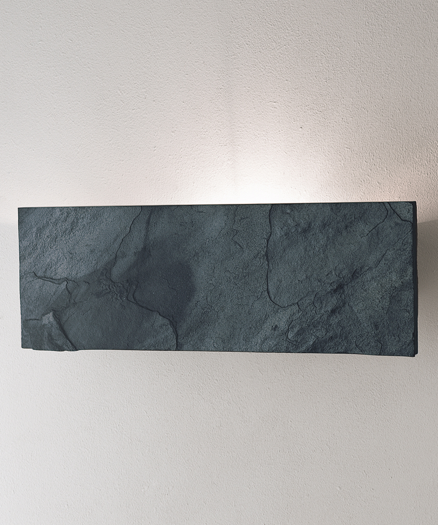 Stratum wall light, rectangular grey slate - Chad Lighting