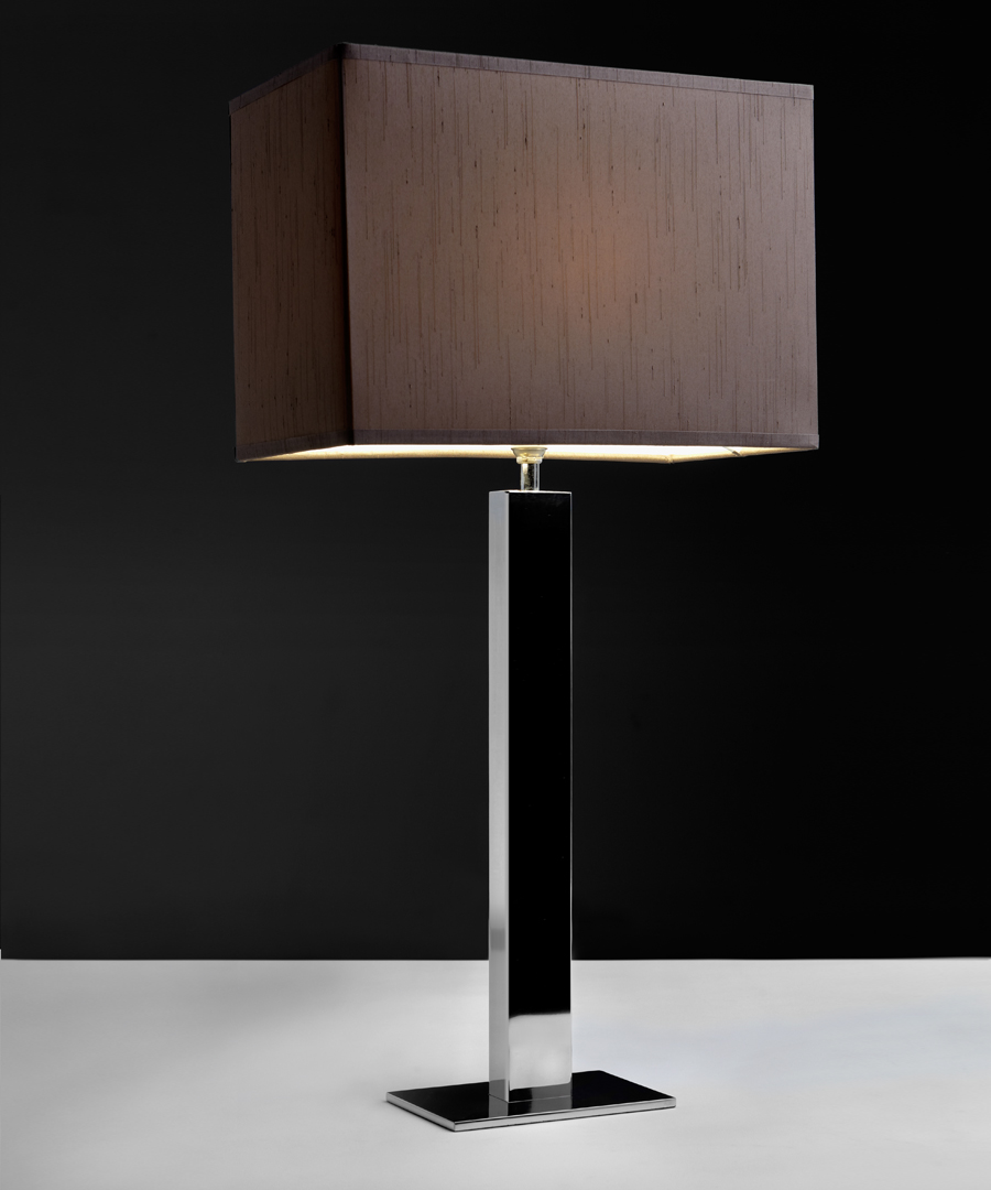 Toledo table light, table lamp in polished stainless steel with a brown shade - Chad Lighting