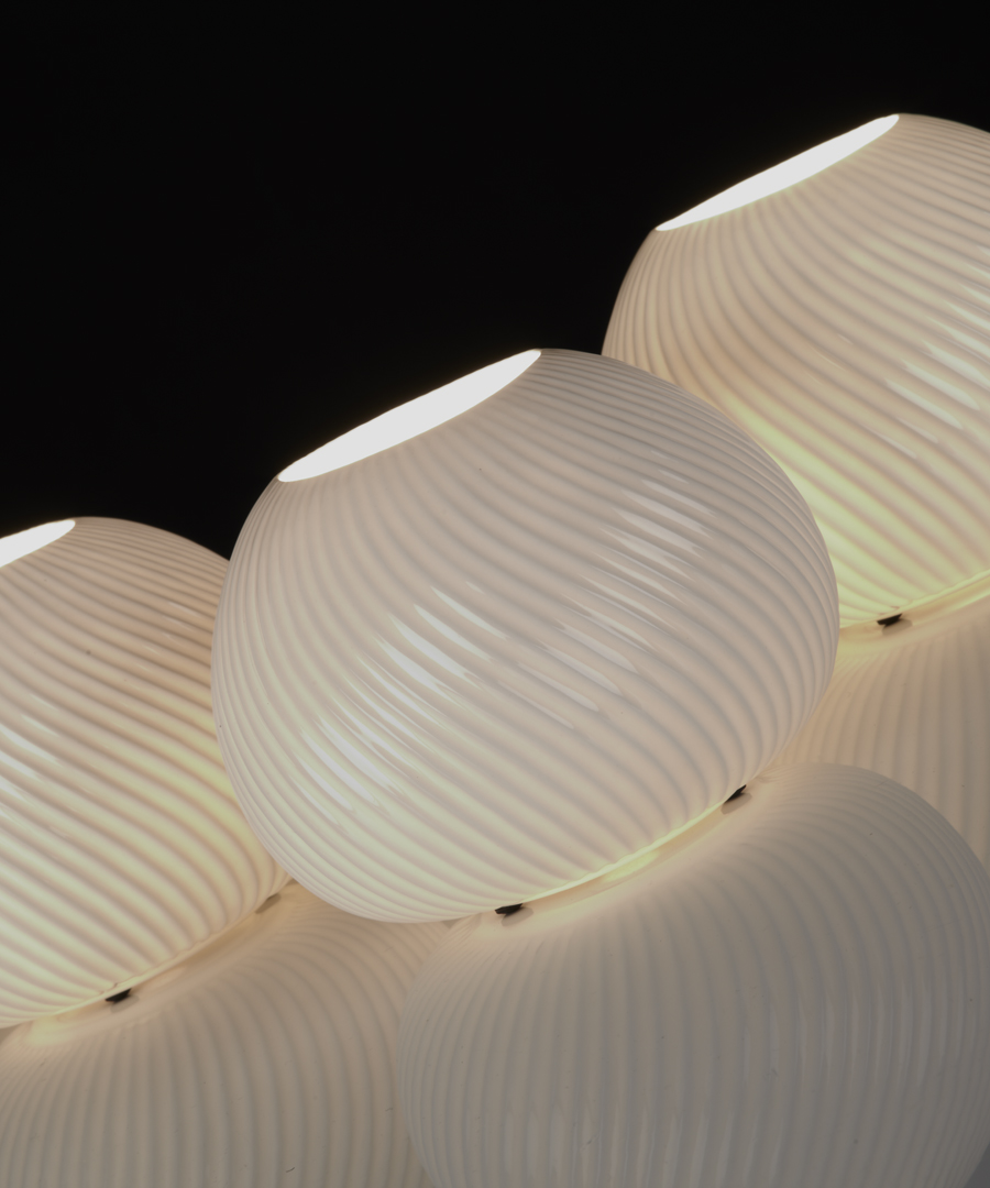 Urchin table light, angled shot of three bone china table lamps giving a warm glow - Chad Lighting