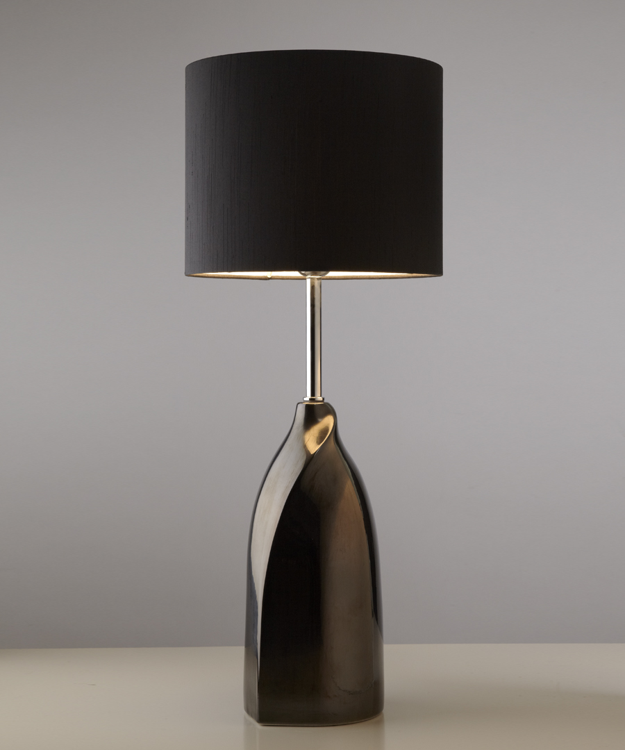 Vermeer table light, gun-metal ceramic table lamp with a black shade - Chad Lighting