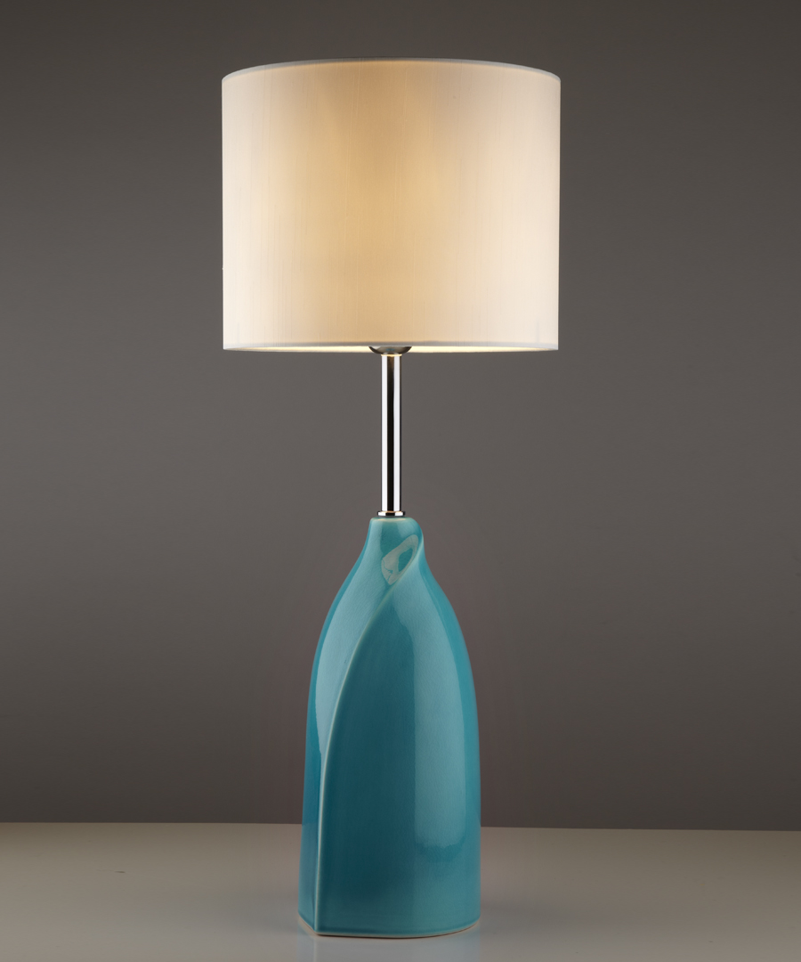Vermeer table light, Turquoise-Crackle ceramic table lamp with a cream shade - Chad Lighting
