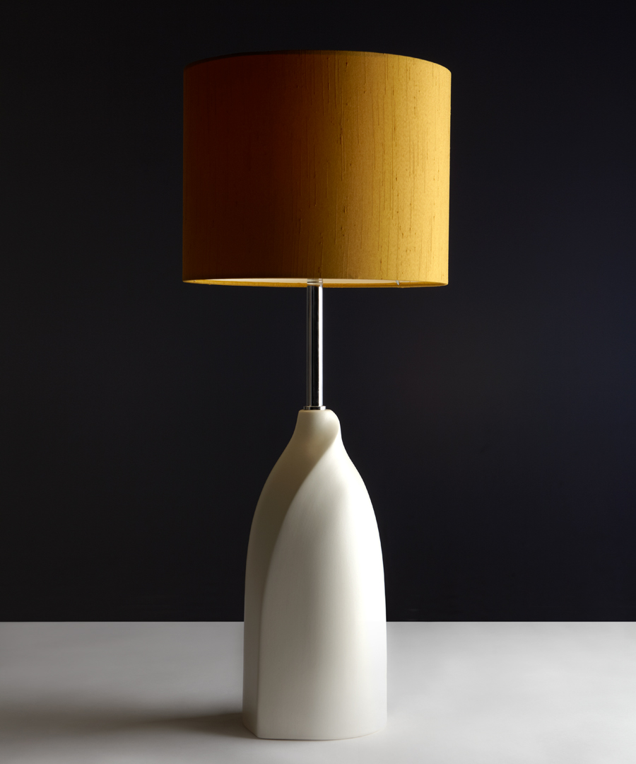 Vermeer table light, white ceramic table lamp with a gold shade - Chad Lighting