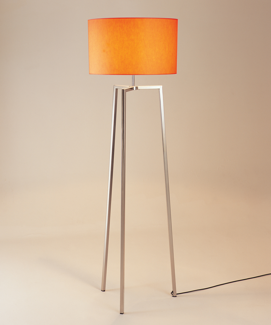 Vigo floor light, three legged floor lamp in polished stainless steel with orange shade - Chad Lighting