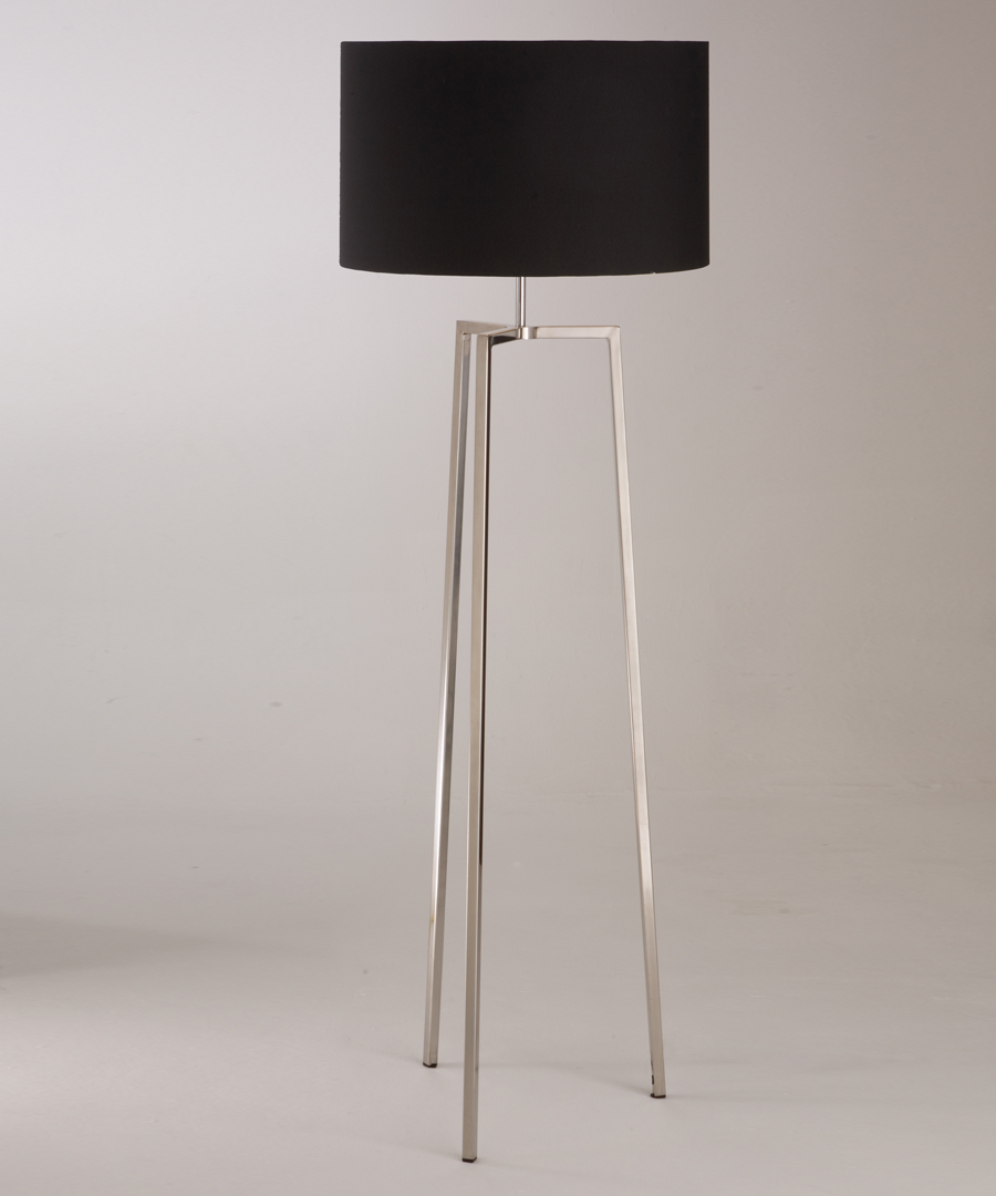 Vigo floor light, tripod floor lamp in polished stainless steel with black shade - Chad Lighting