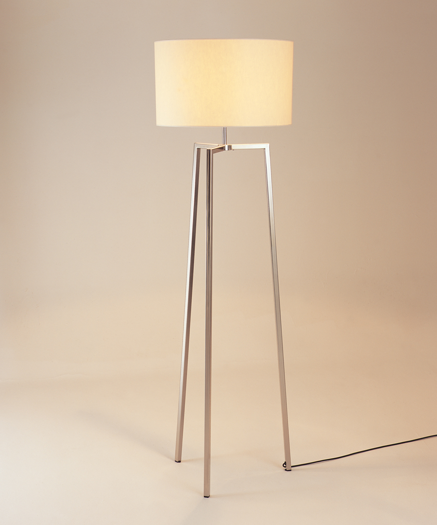 Vigo floor light, tripod floor lamp in polished stainless steel with cream shade - Chad Lighting