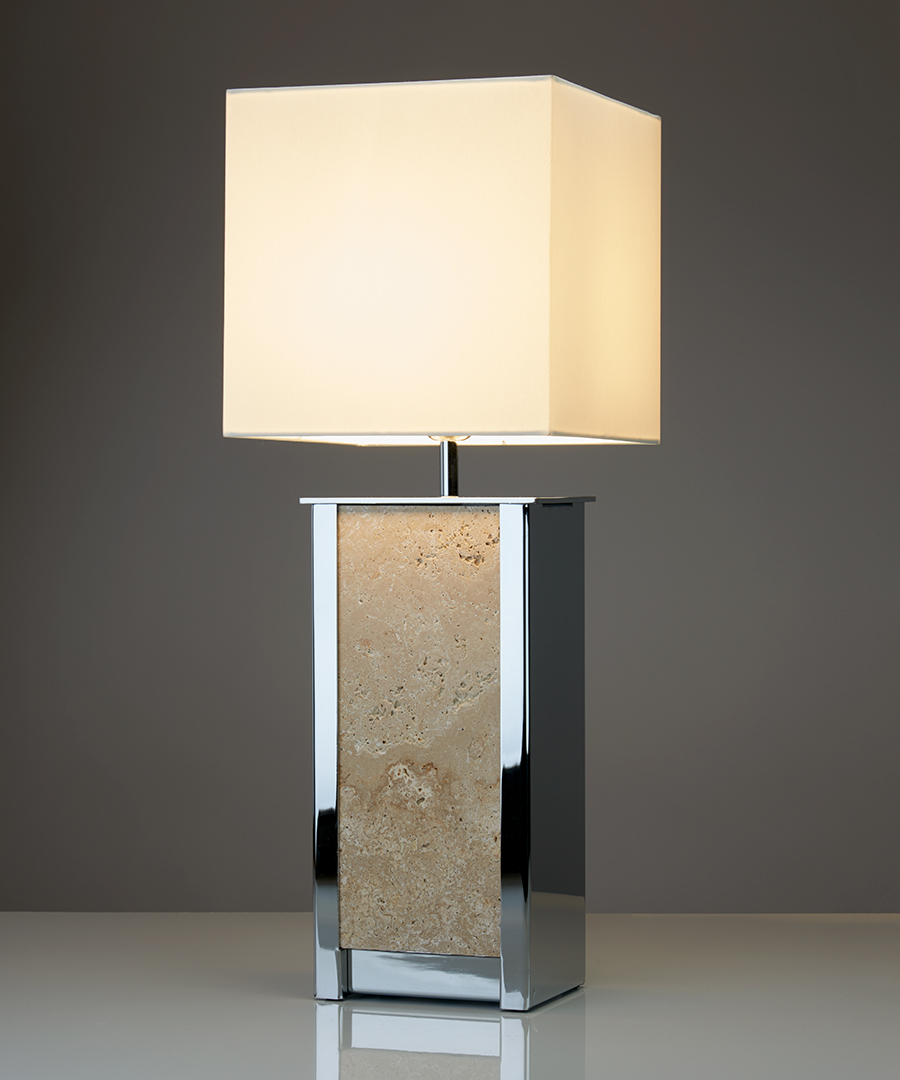 Vienna table light - tall, table lamp in chrome plated steel and a travertine panel with an ivory shade - Chad Lighting