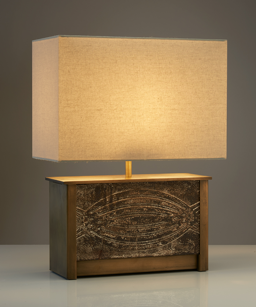 Vienna table light - wide, table lamp in antique brass and a ceramic panel with a calico shade - Chad Lighting