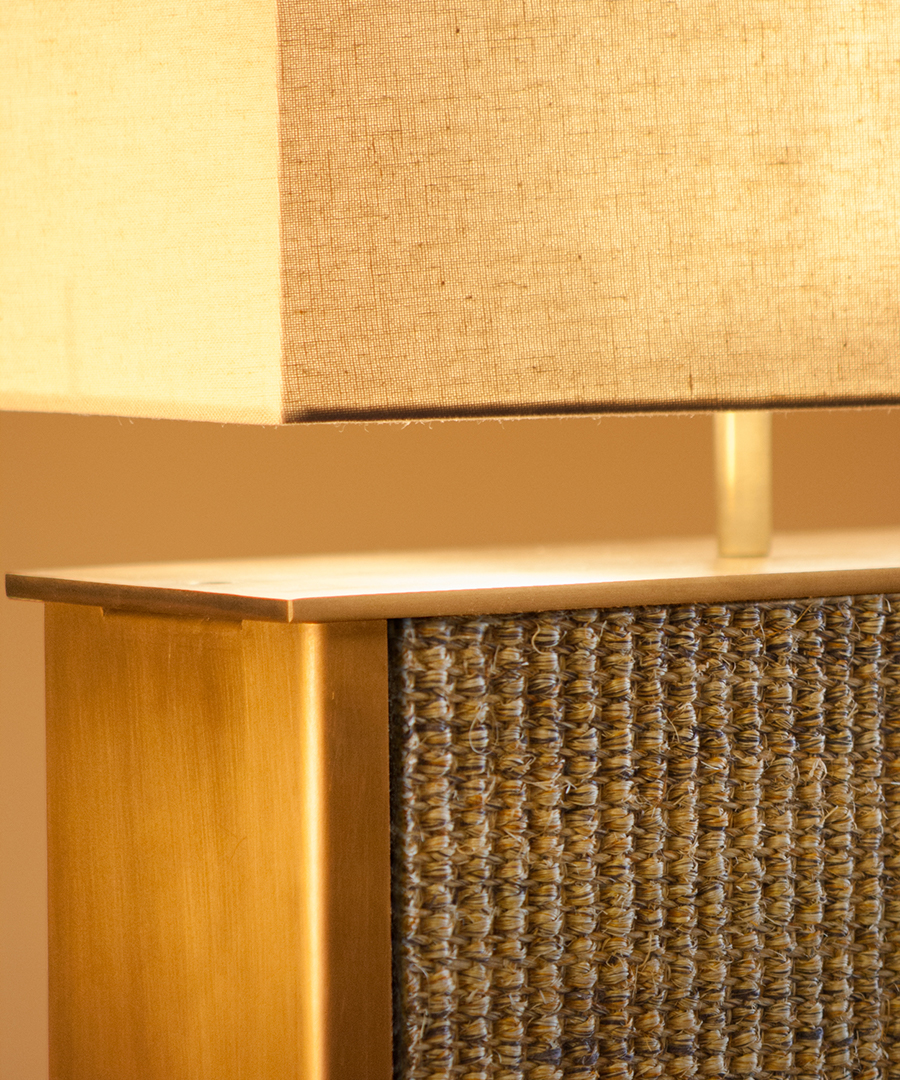 Vienna table light, the panel insert of these table lamps are customisable - this is with a sisal panel - Chad Lighting